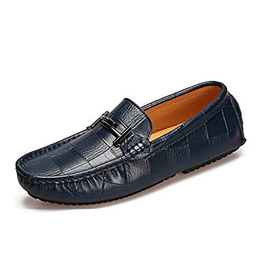 de Caminar Cuero los para Zapatos y Zapatos de Ocasionales la los de la Comodidad de Mocasines Barco Moda YaXuan de Zapatos Azul los resbalones de Zapatos Hombres del Holgazanes E6SqEw