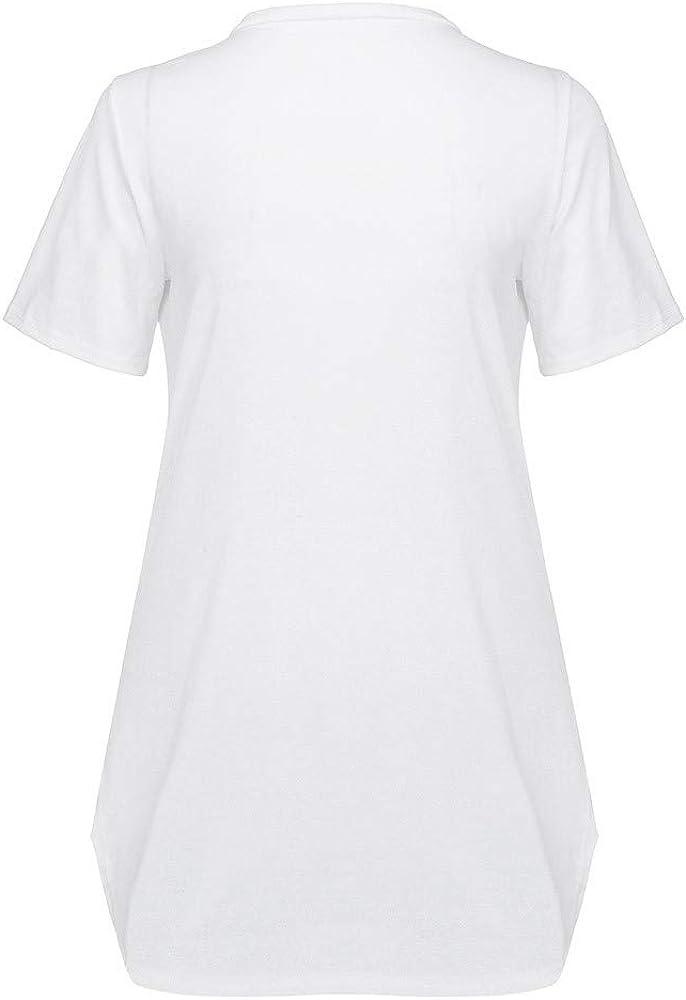 Camisa Lisa Casual de Manga Corta con Abertura Lateral para Mujer Moent, Blusas Sueltas de Talla Grande para Mujer para el despacho de Ventas de Primavera Verano: Amazon.es: Ropa y accesorios