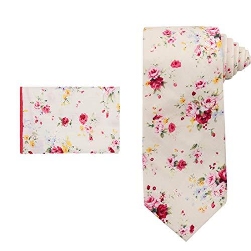 Dan Smith C.C.N.B.005 Beige Pink Elegant Floral Cotton Neck Tie Hanky for -