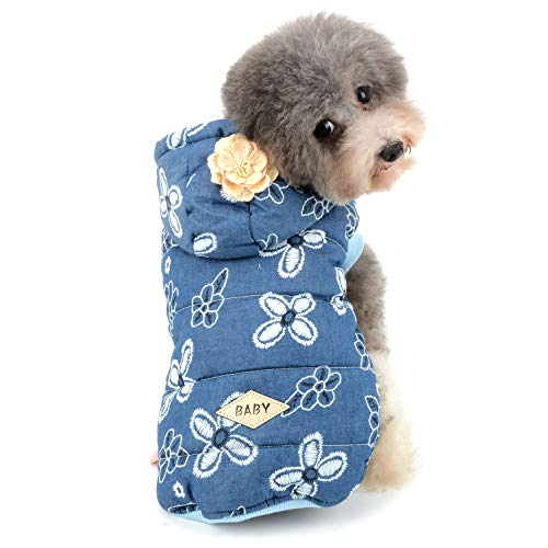 Ranphy Small Dog Hoodie Jacket Girl Winter Coat Fleece Chihuahua Clothes Floral Print Pet Cotton Padded Vest Puppy Cold Weather Hooded Costumes Warm Cat Apparel Yorkie Clothing Darkblue ()