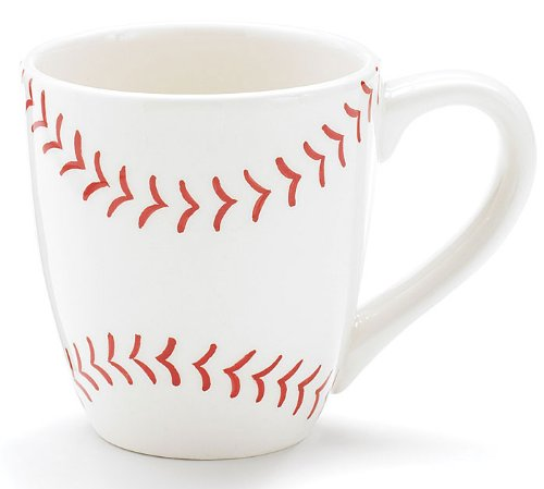 Burton & Burton Baseball 13 oz Ceramic Coffee Mug Great Gift for Sports Fans,white with red baseball pattern,13 ounce