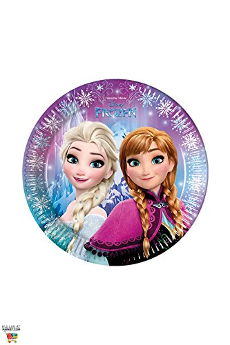 Procos 86755-Disney Frozen Northern Lights (23Cm) Paper Plates, Pack Of 8, Multi-Colour
