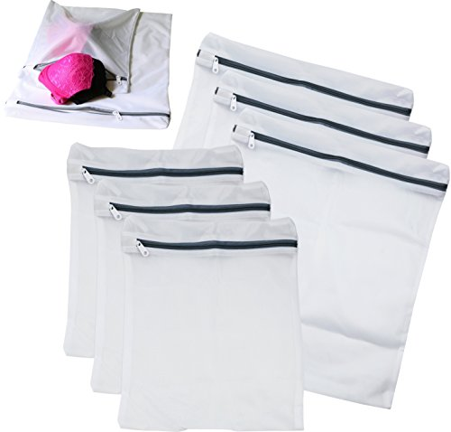 6 Pack - SimpleHouseware Laundry Bra Lingerie Mesh Wash Bag (3 Large & 3 Medium) (Large Bag Extra Garment Laundry)