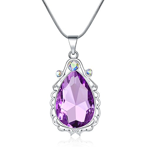Vinjewelry Sofia Necklace Amulet Teardrop Amethyst Pendant Necklace Sofia Princess Costumes Jewelry for Little -
