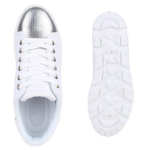 Stiefelparadies Damen Plateau Sneaker Metallic Lack Flandell Weiß