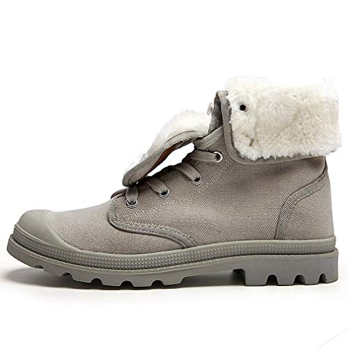 Shoe Bronx Canvas (Tebapi Mens Backpacking Boots Unisex Warm Winter Snow Boots Men Shoes Couple Fashion Casual Canvas Rubber with Fur Ankle Boots Shoes Man Footwear Size 35-44 Light Gray Fur 5.5)