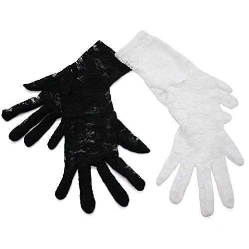 Buorsa 2 Pairs Short Lace Wedding Gloves Opera Party Prom Costume Gloves, White & Black