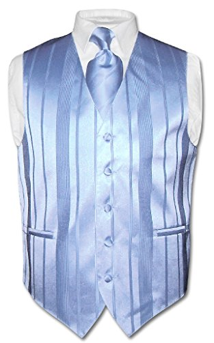 Men's Dress Vest NeckTie BABY BLUE Color Woven Striped Design Neck Tie Set sz M