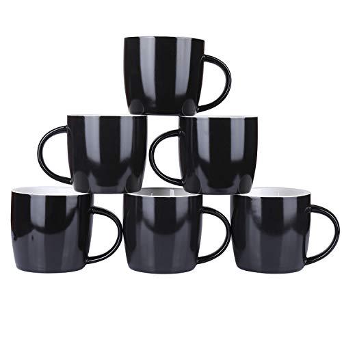- Alt-GT Porcelain Mugs for Coffee, Tea, Cocoa, Latte,Ceramic Mulled Drinks Restaurant Mug Set, Set of 6 (Black-10oz)