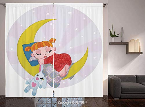Thermal Insulated Blackout Window Curtain [ Cartoon,Girl on the Moon with Her Teddy Bear Sleeping Luna Night Dream Cartoon Art Decor Decorative,Red Yellow Grey ] for Living Room Bedroom Dorm Room Clas ()