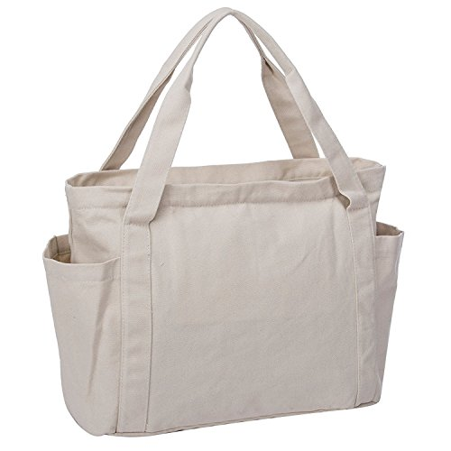 Canvas Shoulder Bag Large Beach Travel Shopper Tote Bag Casual Handbag Carry All Shopping Bag Hobo Style (White) by Gupiar (Image #2)