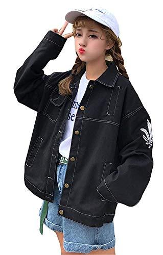 Mode Giubbino Outerwear Primaverile Breasted Maniche Casual Ricamate Relaxed Cappotto Donna Bavero Autunno Single Schwarz Di Marca Lunghe Giacche Fashion Bolawoo Elegante 4WaBHXn8xH