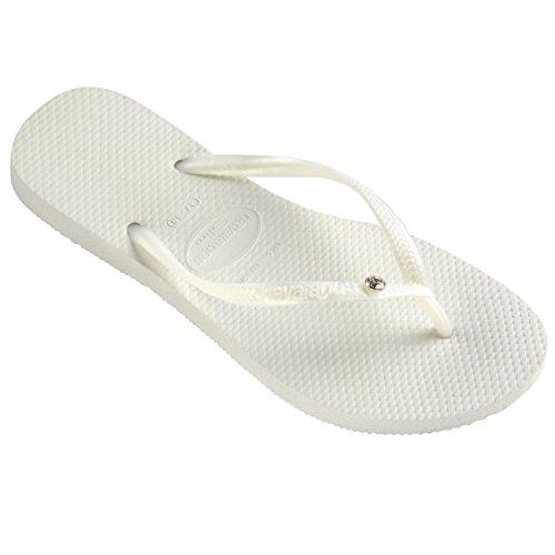 Havaianas Womens Slim Crystal Glamour Sw Flip Flops Thongs (US 7-8, White)