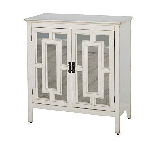 Wood & Style Furniture Devon Mid Century 2 Door Sideboard Cabinet with Mirror, 36
