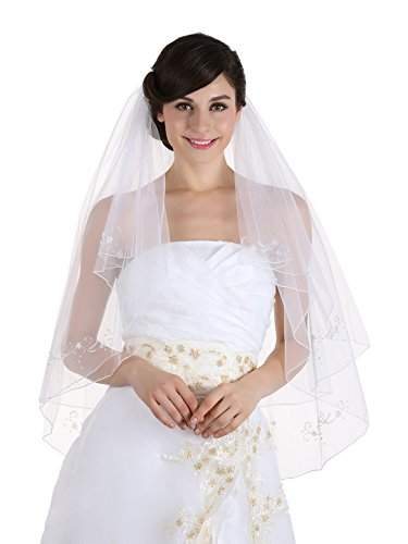Motifs Pencil Edge Bridal Wedding Veil - White Color Fingertip Length 36
