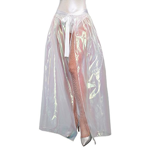 Dreamgirl Women's Iridescent Sparkly Costume Maxi Skirt, Clear, Medium/Large