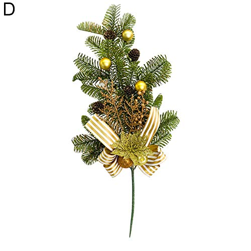 - Christmas Artificial Red Berry Branch Pine Cones Holly Home Party Decor Supply