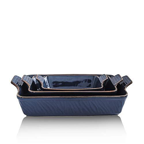 KOOV Bakeware Set, Ceramic Baking Dish Set, Rectangular Casserole Dish Set, Lasagna Pans for Cooking, Cake Dinner…