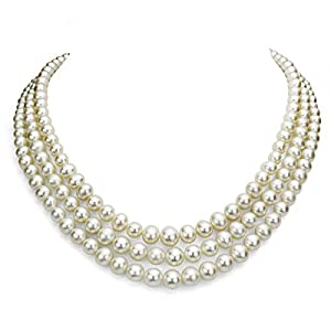Sterling Silver 6.5-7mm 3-rows White Freshwater Cultured High Luster Pearl Necklace, 18