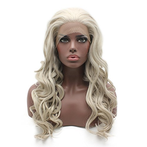 Iewig Gray Blonde Mix Wig for Women Long Wavy Glueless Synthetic Lace Front Wig