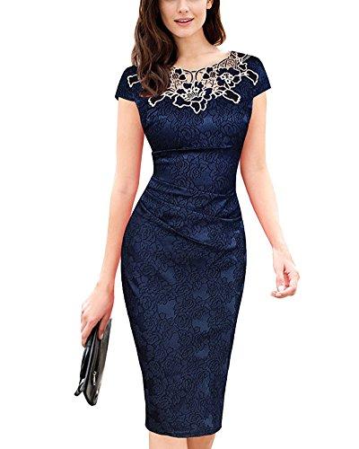 Encaje Vestido de Mujer Vintage Delgado Vestido de Noche Armada