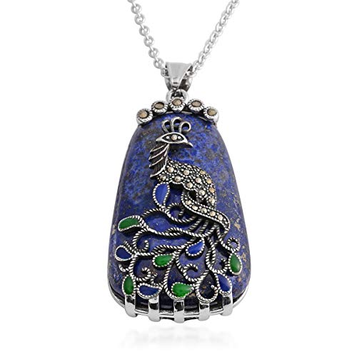 Shop LC Delivering Joy Stainless Steel Lapis Lazuli Peacock Pendant Necklace for Women Jewelry Gift 20