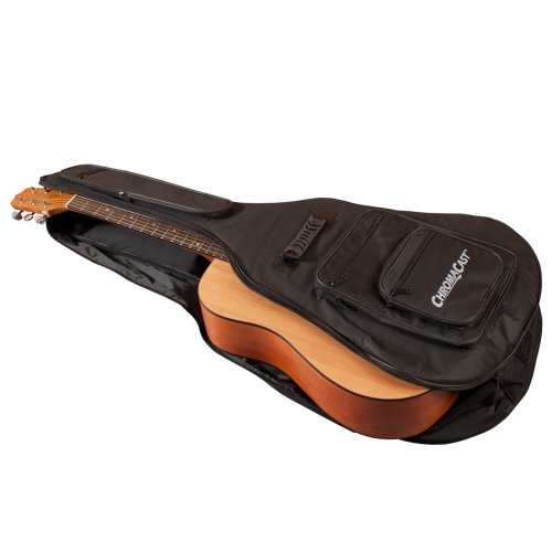 Large Product Image of ChromaCast Acoustic Guitar 6-Pocket Padded Gig Bag with Guitar Strap and Pick Sampler