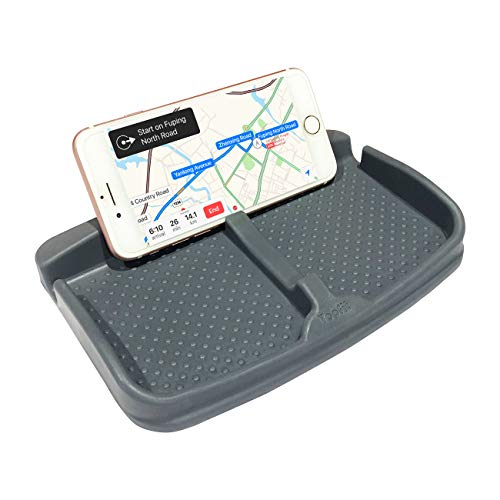 (Cell Phone Pad Universal for Car Dashboard Non-Slide Silicone Rubber Gel Mat Cell Phone Holder for Smartphone Samsung Galaxy Note 8 S9 S8 Plus or GPS Devices Sunglasses- Gray)