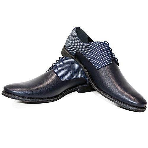 Modello Bunga Bunga - Handgemachtes Italienisch Leder Herren Navy blau Oxfords Abendschuhe Schnürhalbschuhe - Rindsleder Weiches Leder - Schnüren