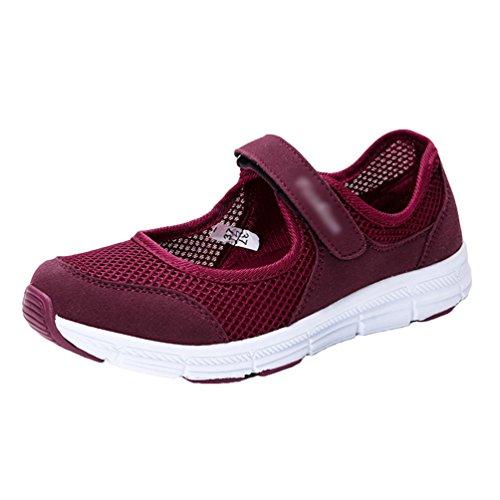 Laufschuhe Sportschuhe Mund Rot Hohl Chic Sneakers Leicht Yiiquanan Mesh Damen Flacher Dunkel Fitnessschuhe Schuhe HzgwIPq