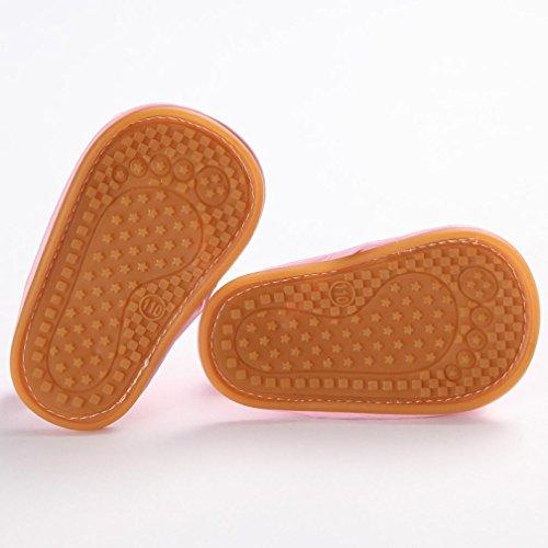 Tefamore Sandalias Zapatos Bebé Niño Cuna de Recién Nacido Flor Suave Suela Antideslizante Zapatillas Primavera y Verano Rosa 2