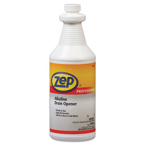 Zep Professional Alkaline Drain Opener Quart Bottle - Includes 12 per case.