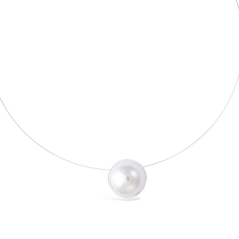 Fermoir Argent 925//000 et Pendentif Perle Synth/étique Blanche 8 mm Les Plaisirs de Stella Collier Fil Nylon