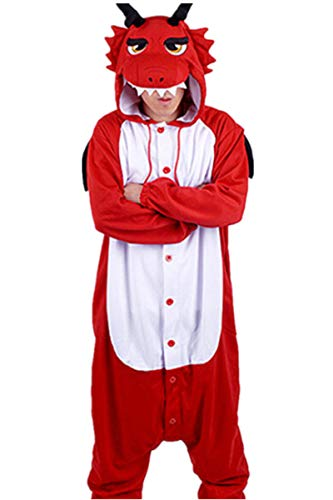 WOTOGOLD Animal Cosplay Costume Dragon Unisex Adult Pajamas Red -