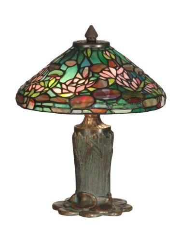 Dale Tiffany TT10334 Floral Leaf Tiffany Table Lamp, Antique Bronze and Verde
