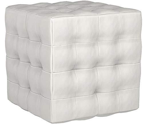 Cortesi Home JoJo Tufted Cube Ottoman, Faux Leather, White