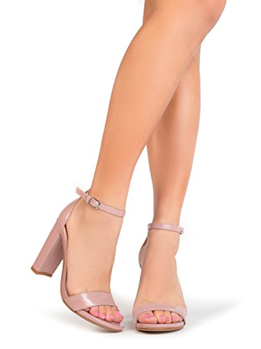 Strappy Chunky Block High Heel, Dusty Rose Patent, 7.5 B(M) US Cute High Heel Formal Shoes