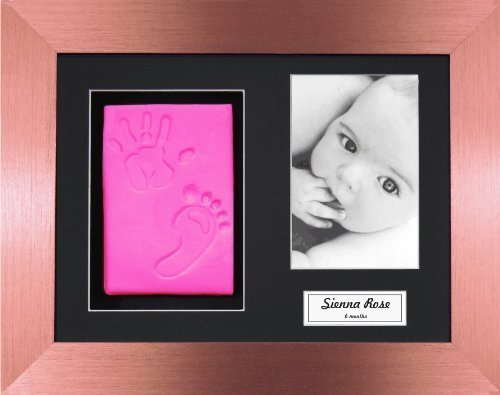 Anika-Baby BabyRice Baby Girl Handprint Footprint Kit Soft Pink Clay Dough Brushed Bronze Box Photo Display Frame by Anika-Baby by Anika-Baby