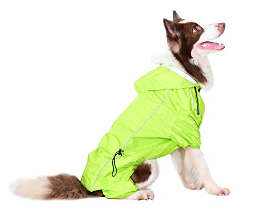 OSPet Summer Comfort Breathable Waterproof Four Feet Raincoat For Large Dog, Size X-large