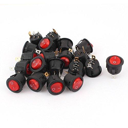 Uxcell AC 250V/6A 125V/10A Red Light On-Off Round Rocker Switch Kcd1 20 (10a Rocker Switch)