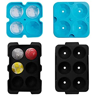 Ice Cube Trays,Silicone Large Ice Mold Set of 2,Sphere Ice Cube Tray with Lid and Large Diamond Molds for Whiskey,Cocktails,Bourbon and Liquor Drink,BPA Free(Black+Blue)
