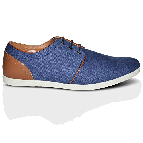 Fashion Casual Up Smart Top Blue 6 Sizes Xelay Lined Summer Mens Leather 2Tone 11 UK Low Lace Trainers Ixw1qvBz