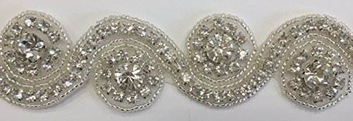 ModaTrims Hot-Fix or Sew-On Beaded Crystal Rhinestone Trim by Yard for Bridal Belt Wedding Sash (Clear Crystals, Silver Beads, Silver Cups, 1 Yard x 1.25 Inch Wide) by ModaTrims