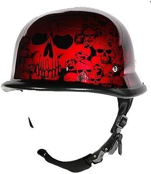 Size L, LG, Large Burgundy Skull Graveyard German Novelty Motorcycle Helmet