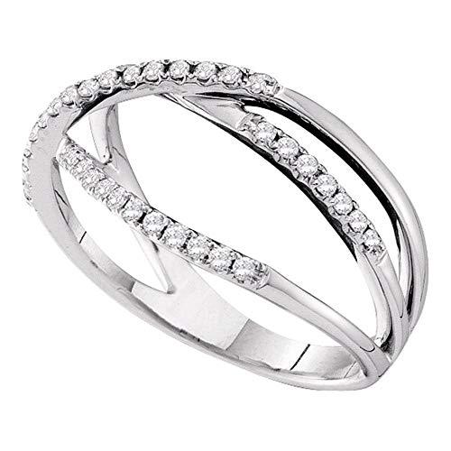 Diamond Crossover Ring Three Row Band Fashion Curve Open Work Womens .20ct 14k White Gold