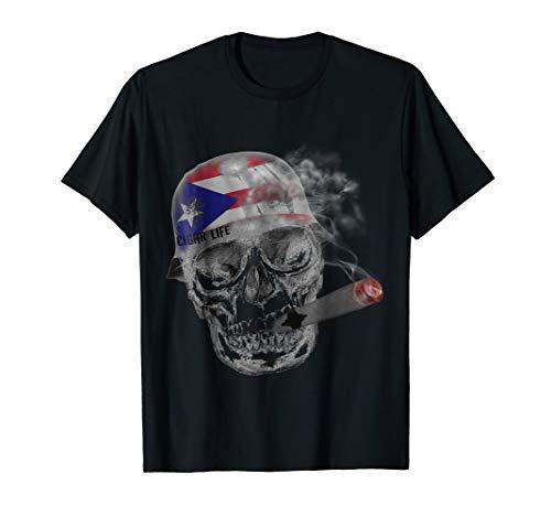 - Cigar skull wearing puerto rico flag helmet Tshirt