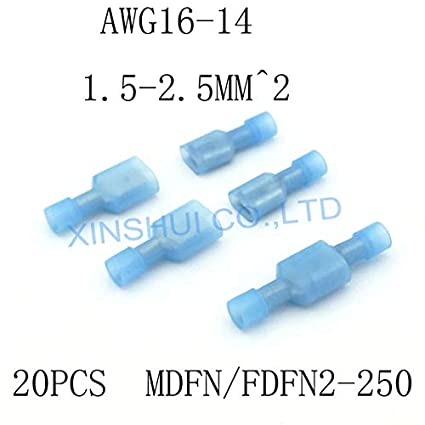 50PCS MDFN2-250 transparent Blue Fully Insulated Spade Electrical Connectors