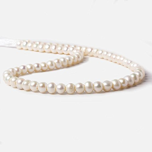 5-6mm Off White Off Round 2.5mm Large Hole Pearls 15 inch 78 Pieces ()