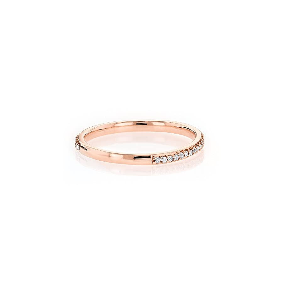 Luxurman Ladies Ultra Thin Stackable Natural 0.15 Ctw Diamond Ring Curved Design