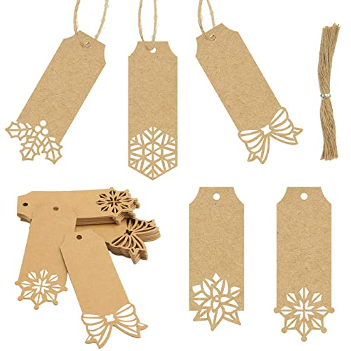 Sallyfashion Brown Kraft Paper Christmas Gift Tags ,100pcs Hollow Bow Holly Snowflake 5 Designs Kraft Paper Labels with Free 100 Root Jute Twine for Christmas Holiday Gifts Wedding Favors Art Craft